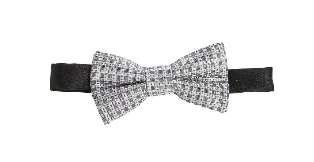 London Bridge - Gray Suspenders & Gray Check Bow Tie Set