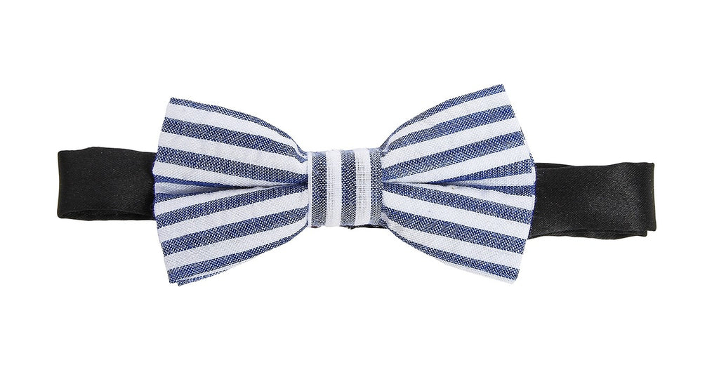 London Bridge - Navy Blue Suspenders & Blue/White Seersucker Bow Tie Set