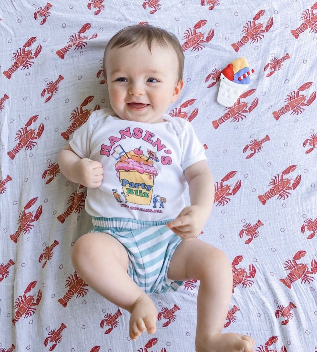 Little Hometown Muslin Swaddle - Heads and Tails Lobster