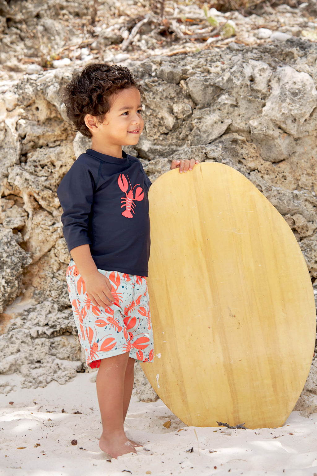 Lassig Board Shorts and Rash Guard Set - Lobsters