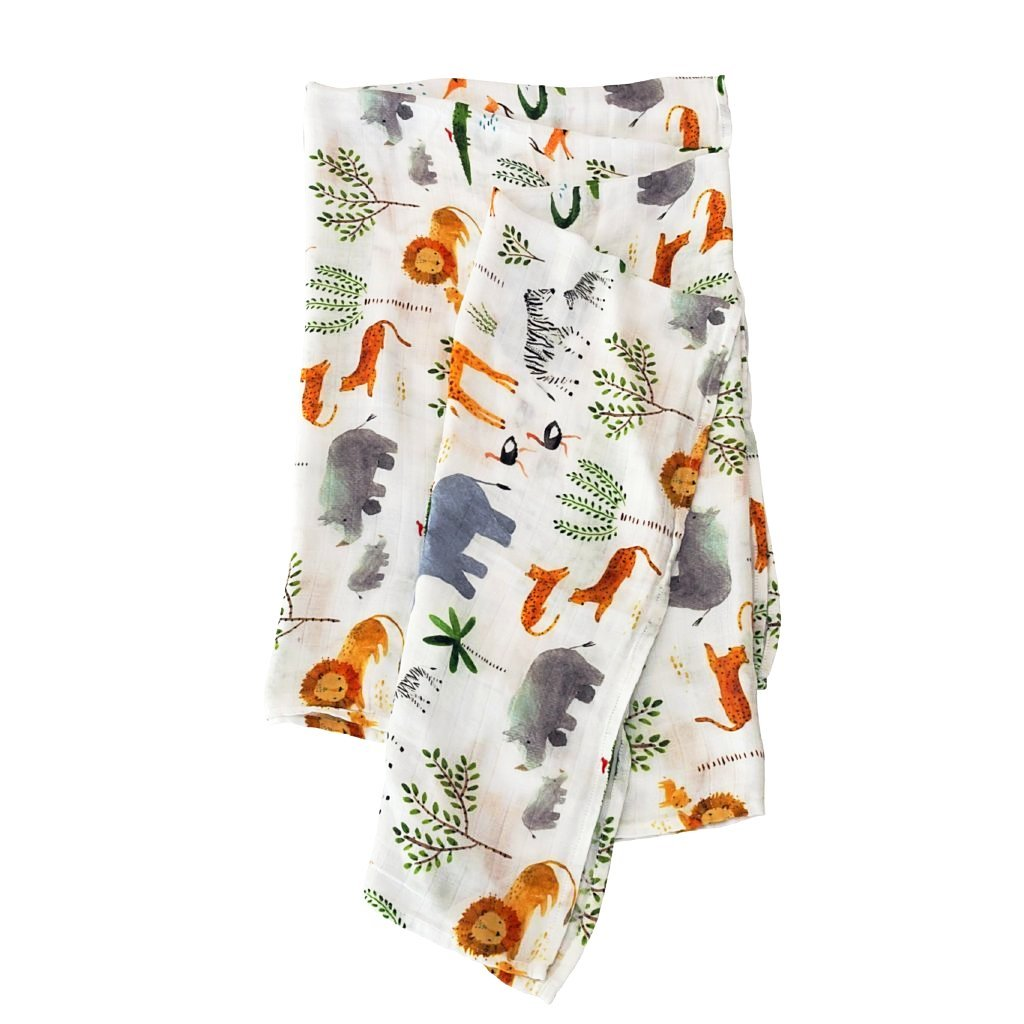 Loulou Lollipop Muslin Swaddle - Safari Jungle