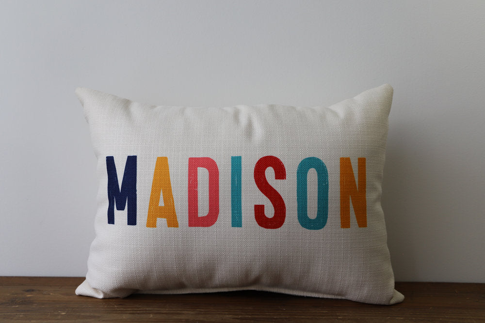 Little Birdie Arts Personalized Pillow - City Multi Color Block