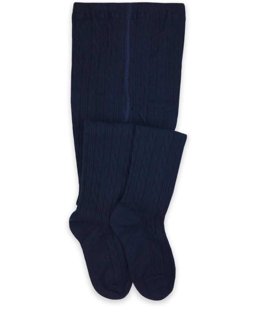 Jefferies Socks Girls Classic Cable Knit Tights - Navy