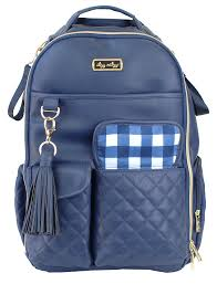 Itzy Ritzy Boss Diaper Bag Backpack Navy Gingham