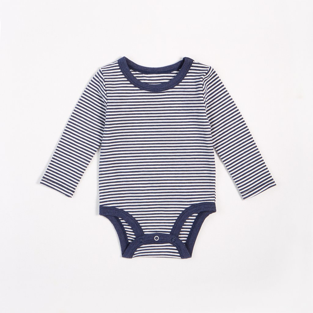 "Petit Lem-""Essentials"" Striped Long-Sleeve Onesie with Organic Cotton"