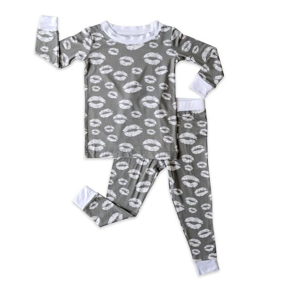 Little Sleepies Grey Kisses Two-Piece Bamboo Viscose Pajama Set