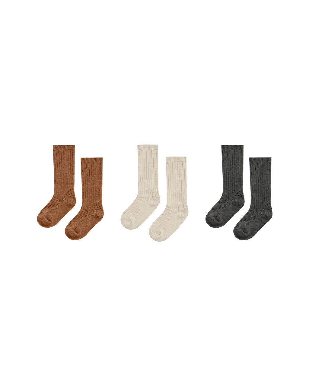 Rylee and Cru AW20- Knee Sock Set of Three- Cinnamon, Natural and Black