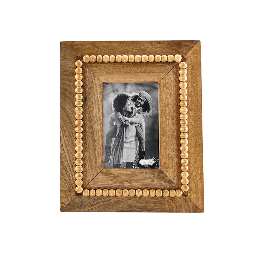 Mud Pie Beaded Wood Large Rectangle Frame