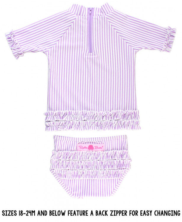 Ruffle Butts Lilac Seersucker Ruffled Rash Guard Bikini
