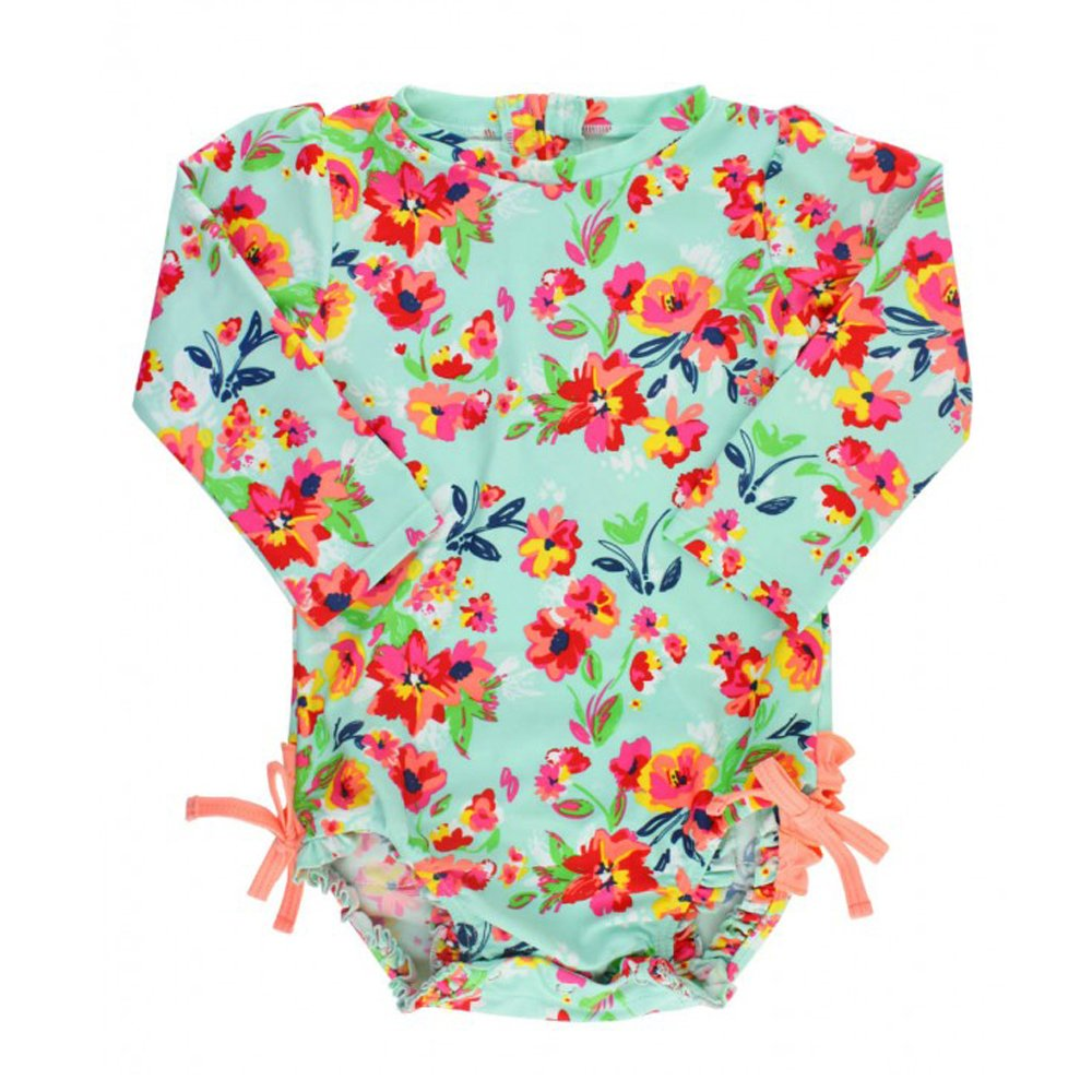 Ruffle Butts Painted Flowers One Piece Rash Guard