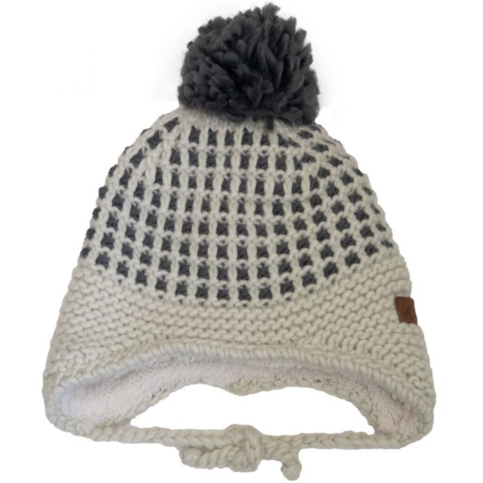 Calikids Fleece-Lined Two-Tone Pom Hat