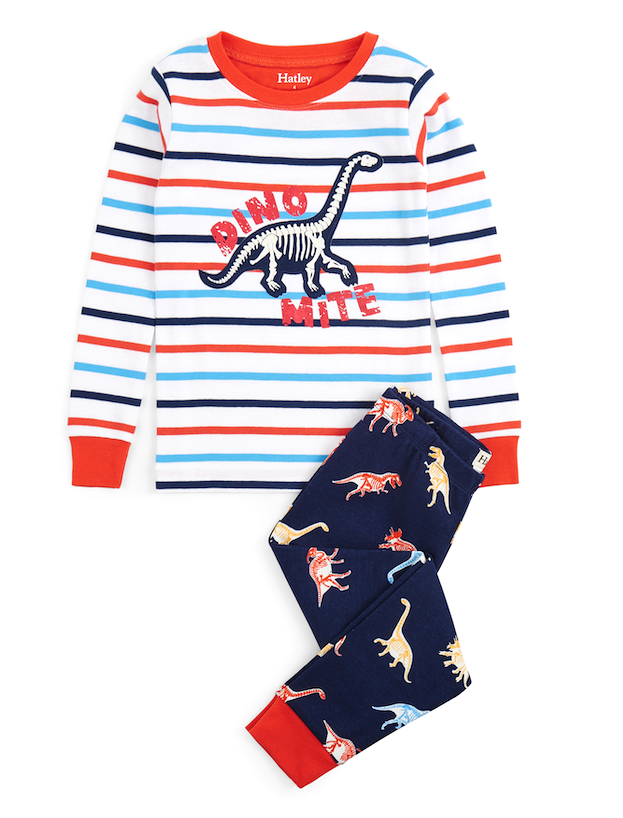 Hatley Boys Glowing Fossils Organic Cotton Pajamas
