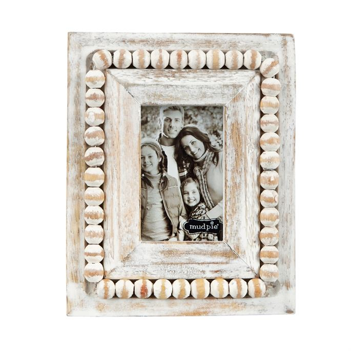 Mud Pie 4x7 White Beaded Wood Frame