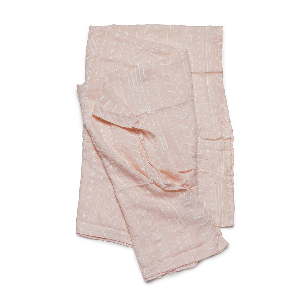Loulou Lollipop Muslin Swaddle- Pink Mudcloth