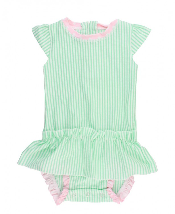 Ruffle Butts Mint Seersucker Peplum One Piece