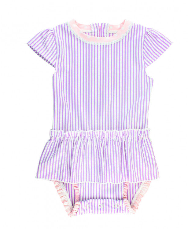 Ruffled Butts Lilac Seersucker Peplum One Piece