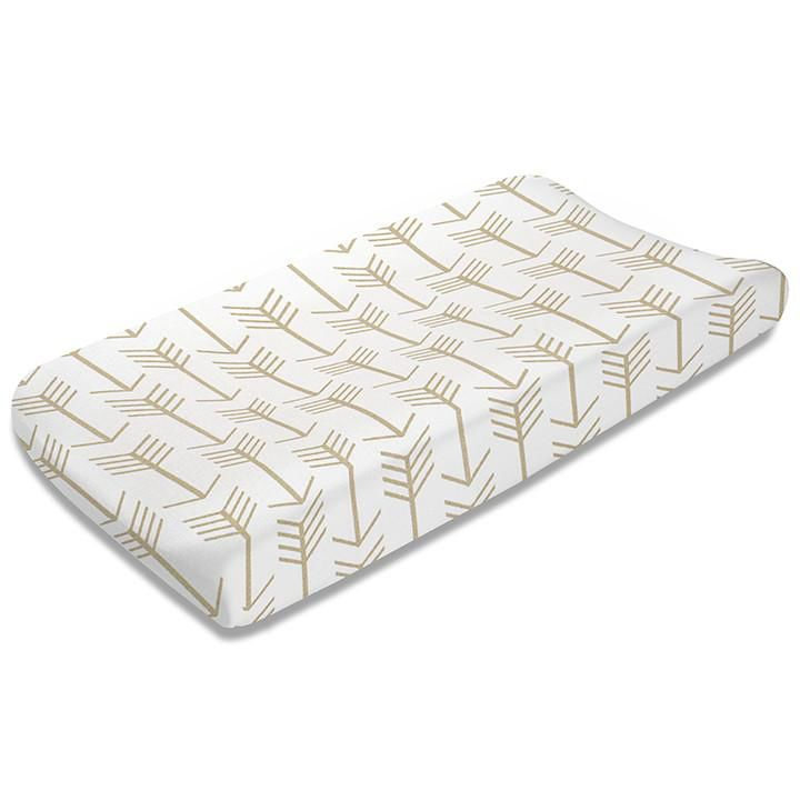 Liz & Roo Changing Pad Cover- Tan Arrows