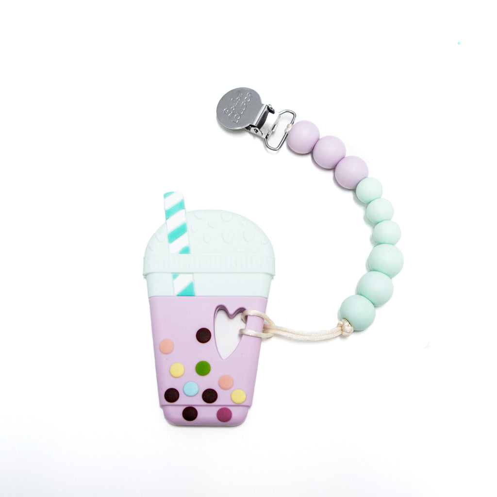 Loulou Lollipop Taro Milk Tea Teether with Holder Set