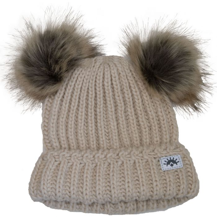 Calikids Knit 2 PomPom Hat - Cream