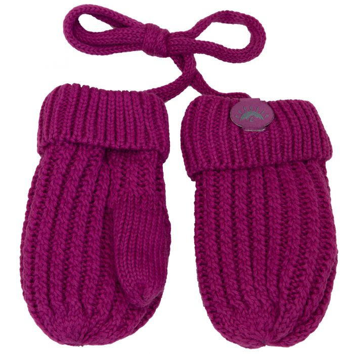 Calikids Baby Knit Fleece-Lined String Mittens