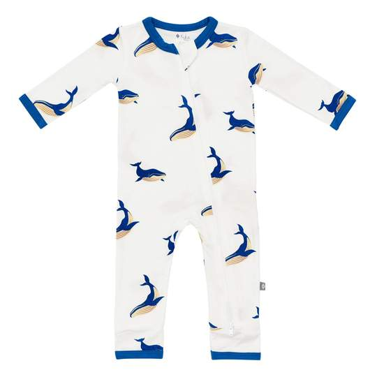 Kyte Baby Printed Zippered Romper - Whale