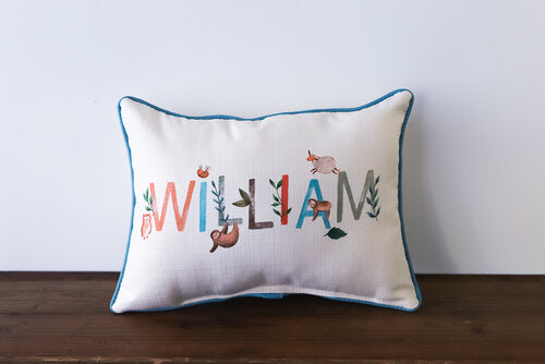 Little Birdie Arts Personalized Pillow - Woodland Boy