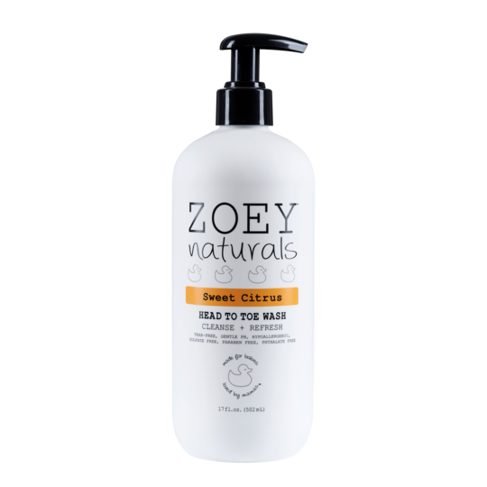 Zoey Naturals Sweet Citrus Head to Toe Wash 17 oz.