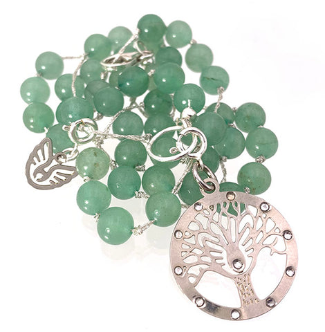 Aventurine Silver Strand Necklace with Tree of life Charm Pendant