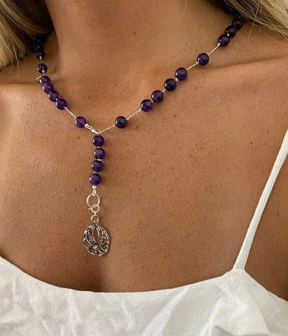 Amethyst Necklace 8mm Bead with Lotus Flower Charm Pendant