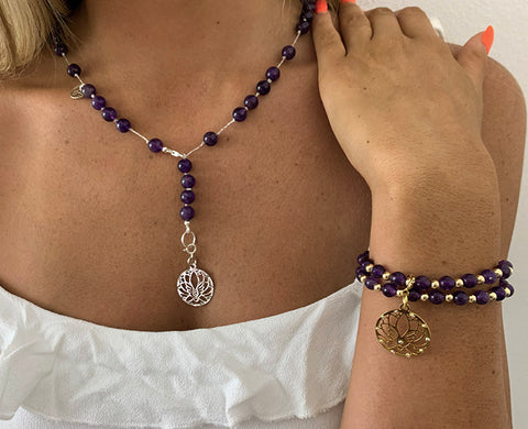 Amethyst Bracelet and Necklace 8mm bead set