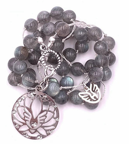 Labradorite Necklace with Lotus Flower Charm Pendant