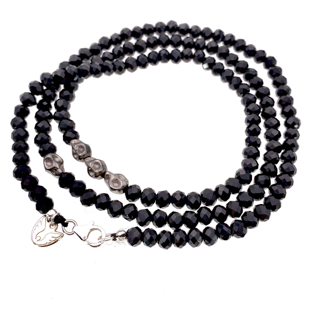 Men's Black Spinel Necklace Skull Station