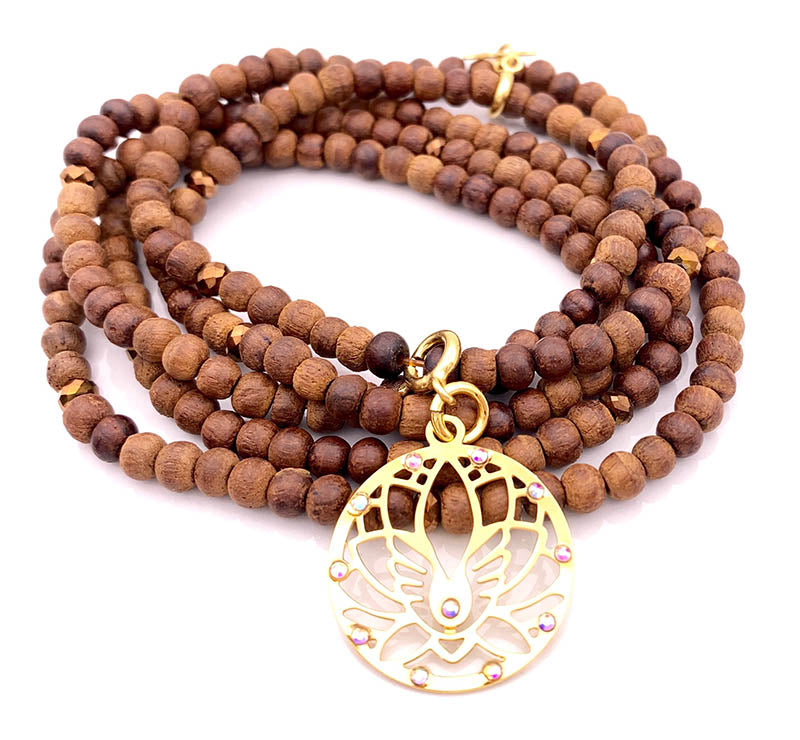 Necklace with Wood and Crystal beads - charm pendant