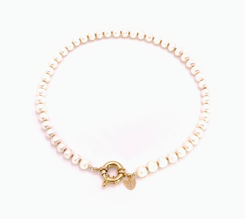 Gold Nautical Clasp Pearl Necklace