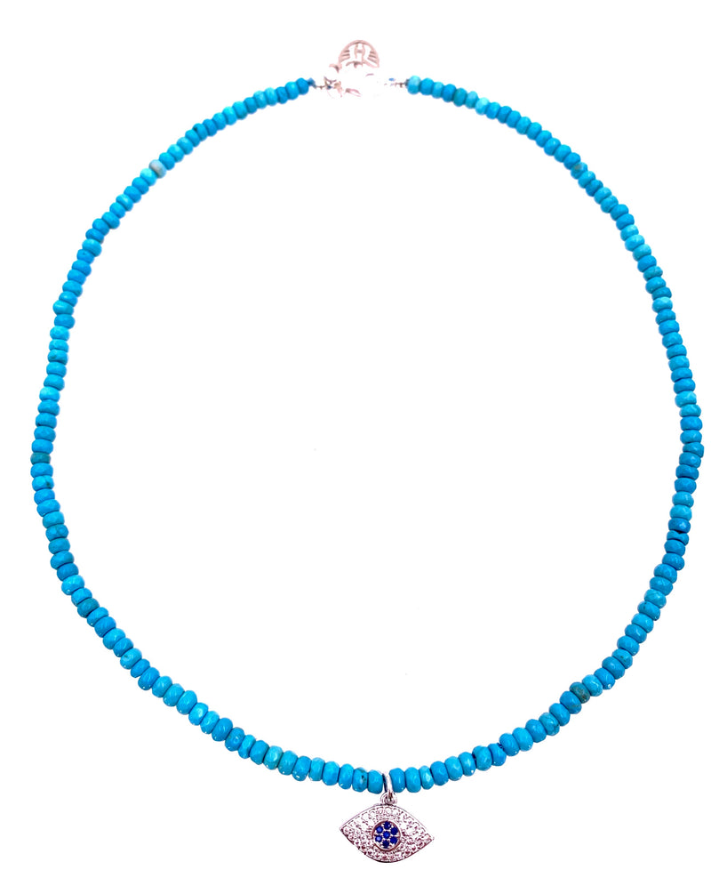 Evil Eye CZ Blue Howlite Necklace