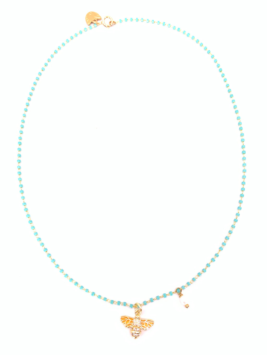 Butterfly Turquoise Pearl Necklace