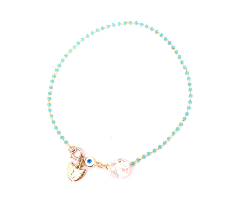 Evil Eye Pearl Turquoise Anklet