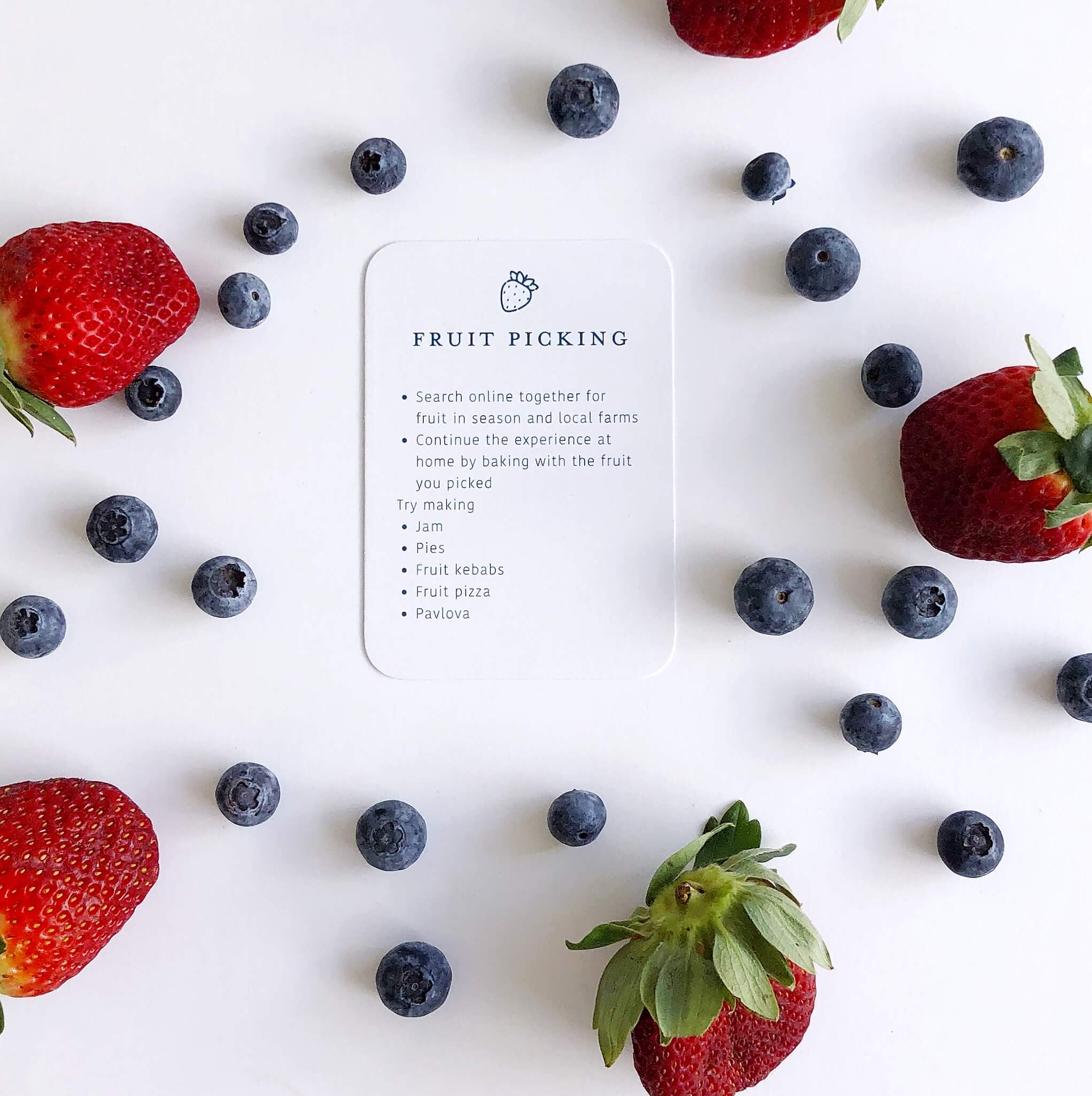 Memory Makers Family Edition - Fruit Picking Card surrounded by strawberries and blueberries