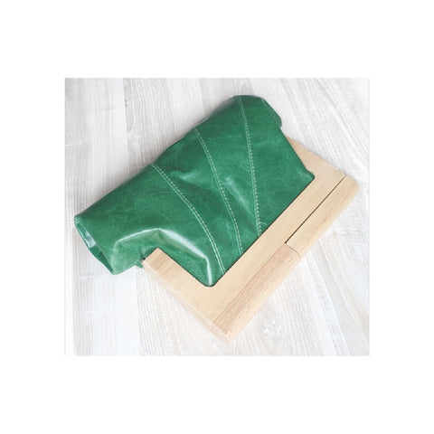 Moy Tasmania Emerald Green Leather and Timber Clutch