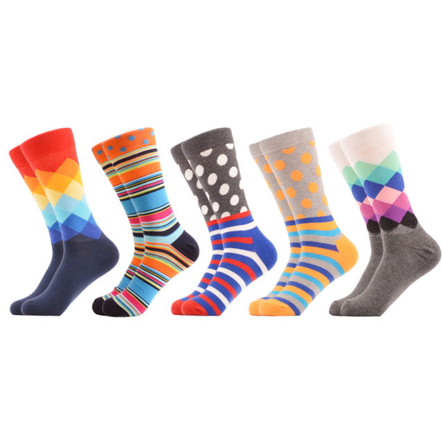 SANZETTI 5 Pairs / Oversized Male Socks Colorful Casual Geometric Stripes Dot Pattern Combed Cotton Gift Formal Dress Party Sock