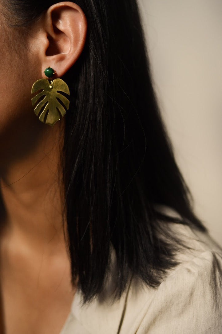 JAN- Monstera Leaf Earrings