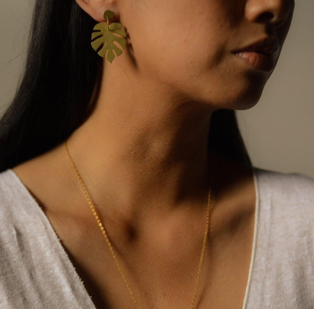 ERN- Monstera Leaf Earrings