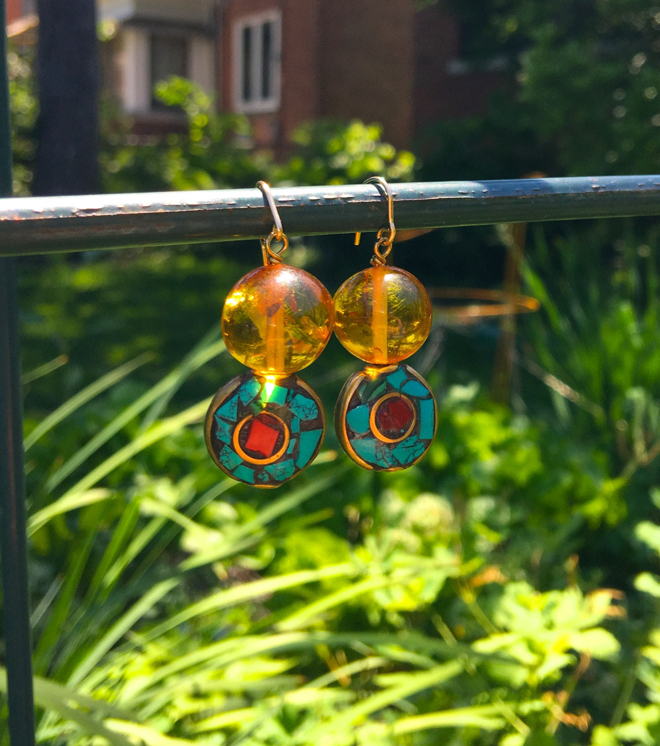 CLEOPATRA Earrings- Amber, Turquoise, Red Coral