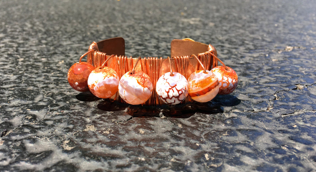 Fire Agate/ Copper Cuff