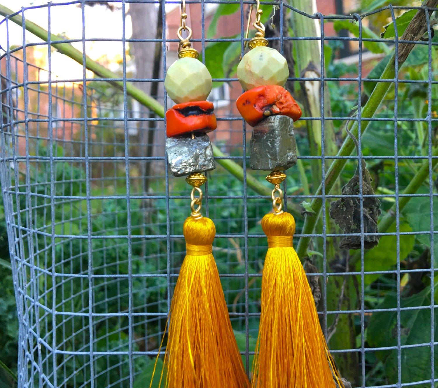 Golden Sunrise- Jasper, Coral, Pyrite Earrings