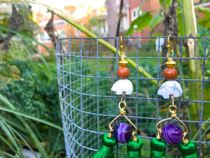 The Great Protector: Forest Green Tassel Earrings