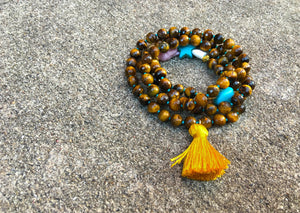 Tiger's Eye - Silk Golden Tassel Mala