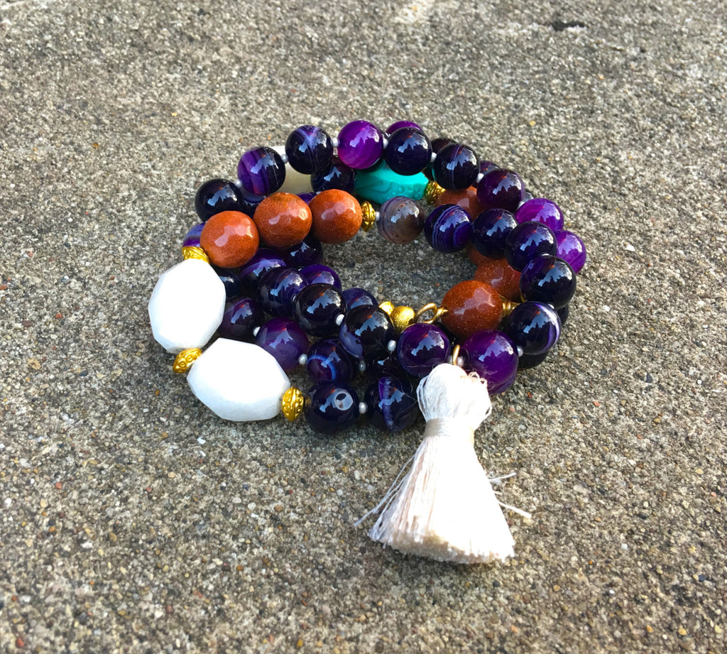 Purple Banded Agate - Silk Cream Tassel Mala