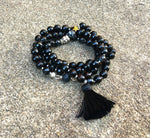 Black Agate - Silk Black Tassel Mala