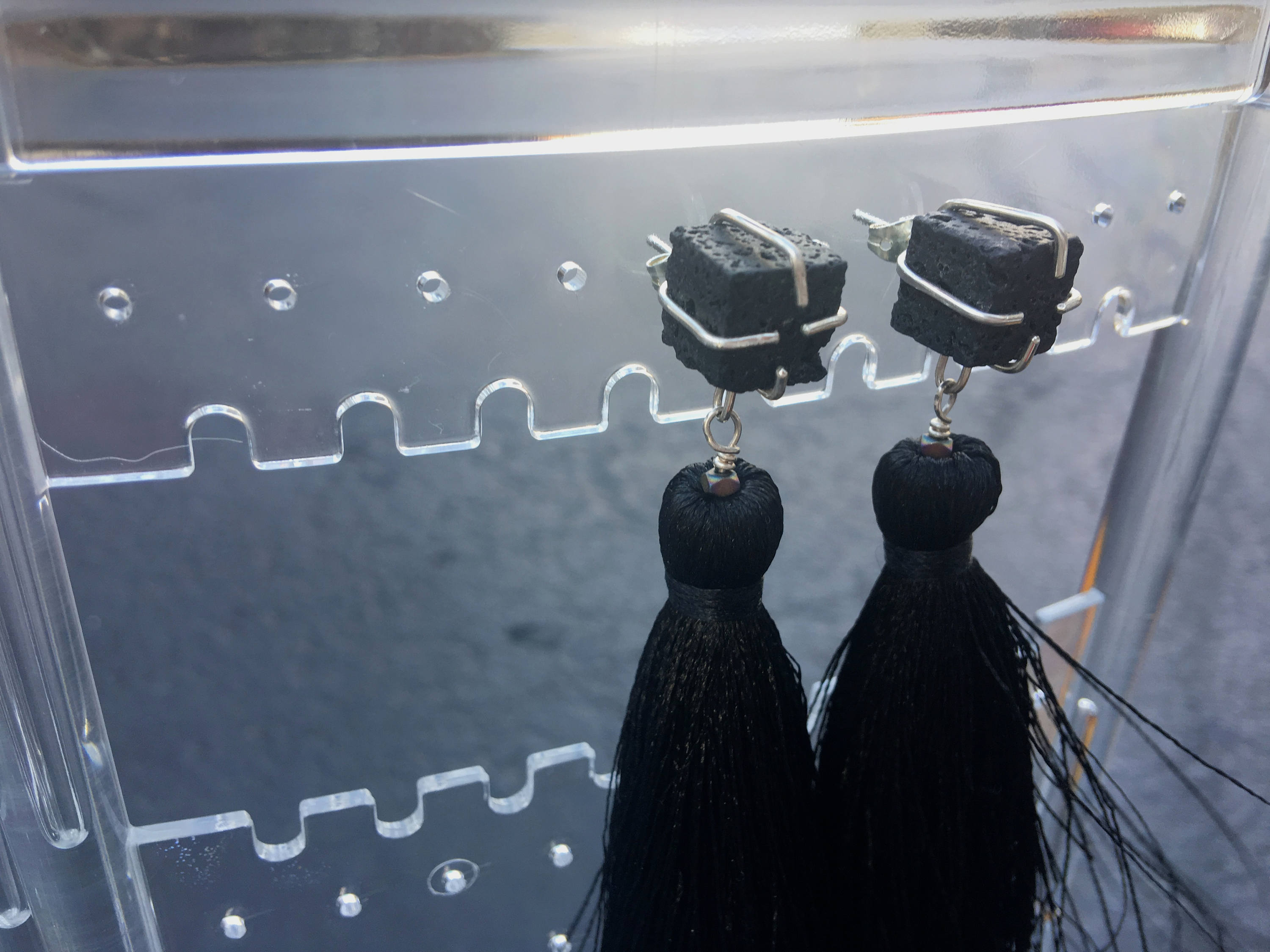 Lava Stone - Black Tassel Earrings